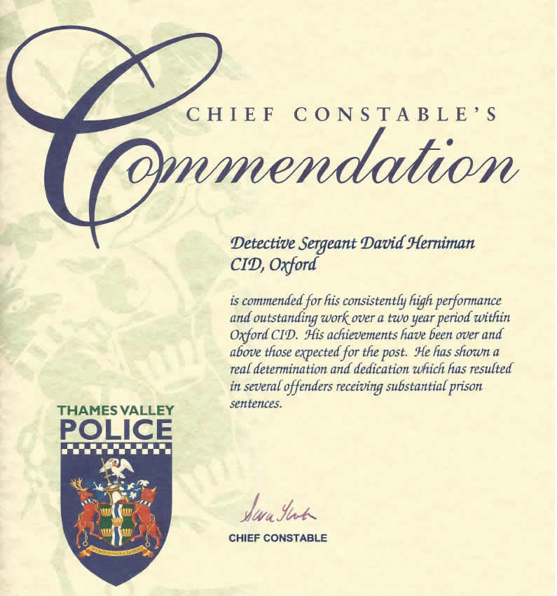 Commendation by Police for Investigation work