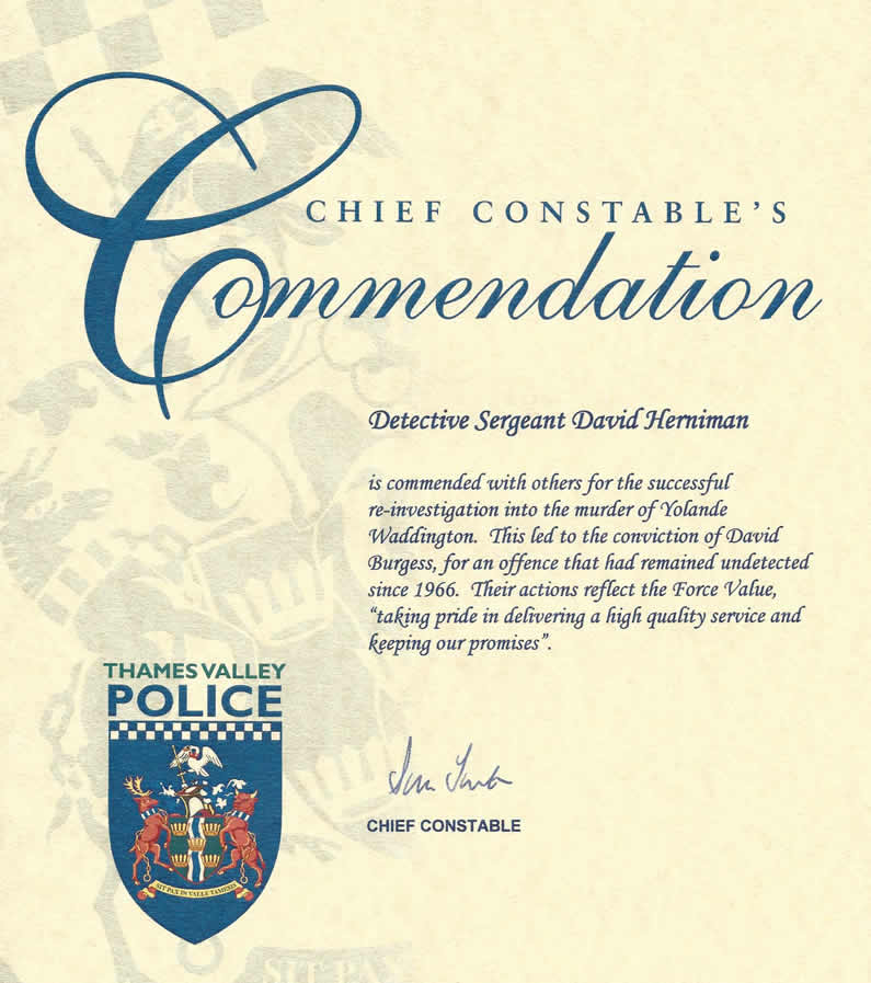 Commendation by Police Chief Constable